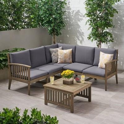 6pc carolina acacia wood patio sofa sectional set gray christopher knight home