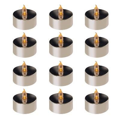 12ct Battery Operated Flickering LED Tea Lights Silver - Lumabase