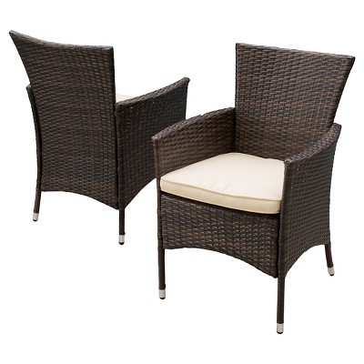 malta set of 2 wicker patio dining chair with cushion brown christopher knight home