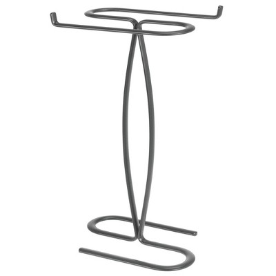 mdesign metal hand towel holder stand for bathroom vanity countertop dark gray