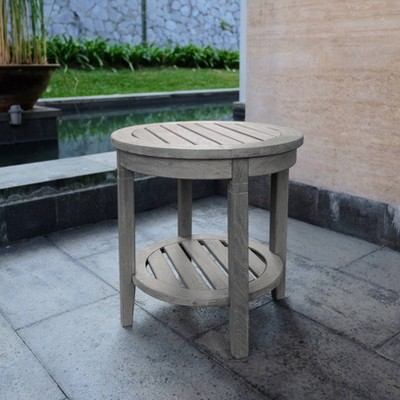 sherwood teak patio side table weathered gray cambridge casual