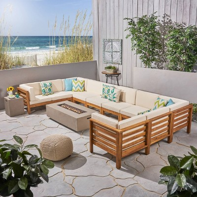 oana 12pc acacia u shaped sectional sofa set with fire pit teak beige and light gray christopher knight home