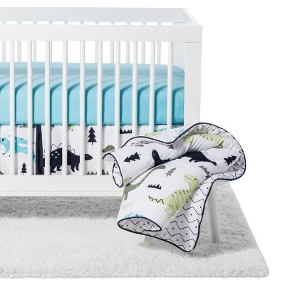 sweet jojo designs crib bedding set blue green mod dino 11pc