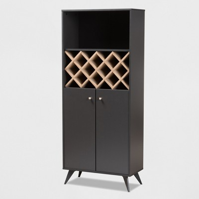 Serafino and Oak Finished Wood Wine Cabinet - Baxton Studio