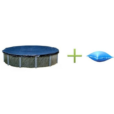 Swimline 18' Round Above Ground Swimming Pool Cover + 4'X8' Closing Air Pillow