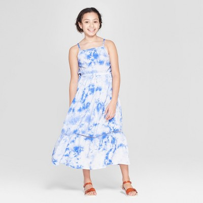 Girls' Tie Dye Woven Maxi Dress - Cat & Jack™ Blue