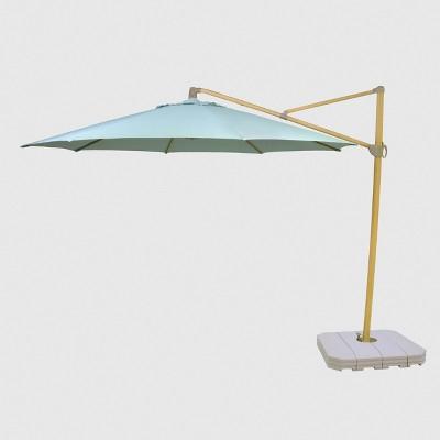 11 offset patio umbrella duraseason fabric aqua light wood pole threshold