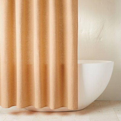 chambray shower curtain honey casaluna