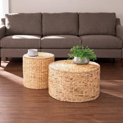 2pc salita round water hyacinth storage tables natural aiden lane