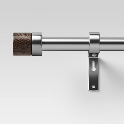 36 66 walnut wood cap curtain rod brushed nickel project 62