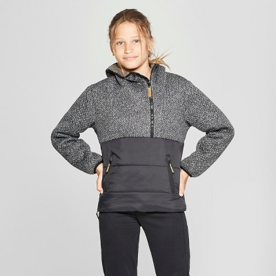 Girls' Half Zip Puffer Jacket - C9 Champion® Black