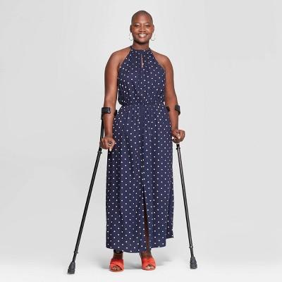 Women's Plus Size Polka Dot Sleeveless Slit Maxi Dress - Ava & Viv™ Navy