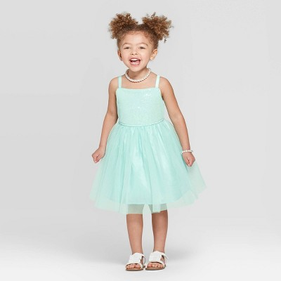 Toddler Girls' Sequined Bodice Tulle Dress - Cat & Jack™ Aqua