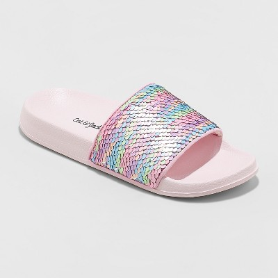 Girls' Fizz Flip Sequin Slide Sandals - Cat & Jack™ Pink