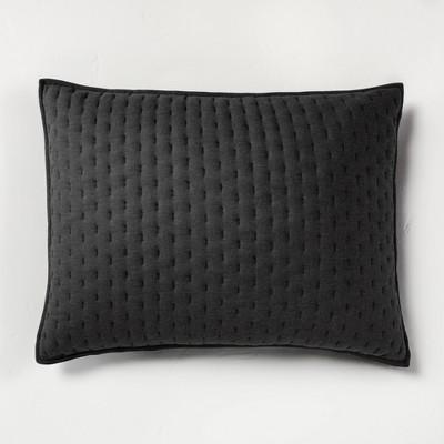 standard cashmere blend quilted pillow sham washed black casaluna
