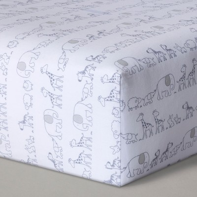 Fitted Crib Sheet Two by Two - Cloud Island™ Gray