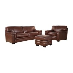 Leather Chair Ottoman Set All Weather Wicker Patio Swivel Rocking Evan Top Grain Sofa And Brown Abbyson Living Target
