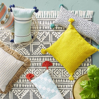 welcome woven outdoor lumbar decorative pillow tan threshold