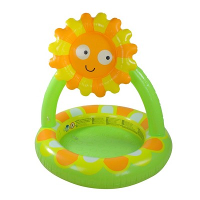 """Pool Central 39"""" Inflatable Baby Swimming Pool with Adjustable Sunflower Sun Shade - Green/Orange"""
