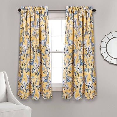 Dolores Room Darkening Window Curtain Panels Set Yellow - Lush Decor