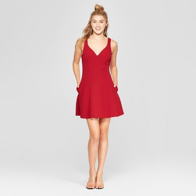 Women's Sleeveless Scuba Crepe Dress - Lots of Love by Speechless (Juniors') Cranberry Red