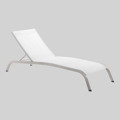 savannah mesh chaise outdoor patio aluminum lounge chair white modway