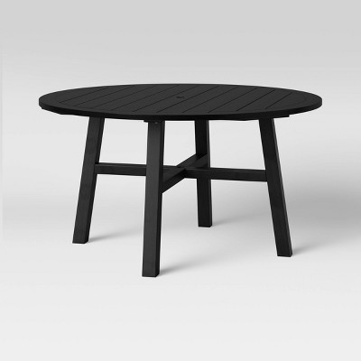 blackened wood 4 person round patio dining table smith hawken