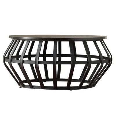 olivery round accent coffee table metal frame cage slate black inspire q