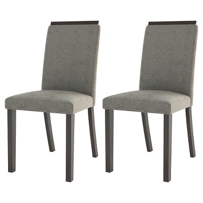gray upholstered dining chairs painting metal folding bistro chair wood pewter set of 2 corliving target