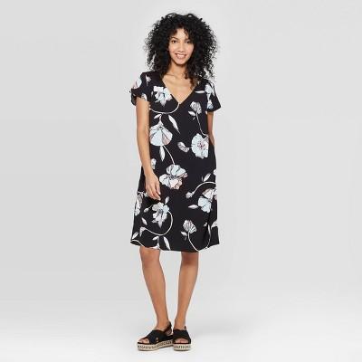 Women's Floral Print Short Sleeve V-Neck Crepe Dress - A New Day™ Black/Blue