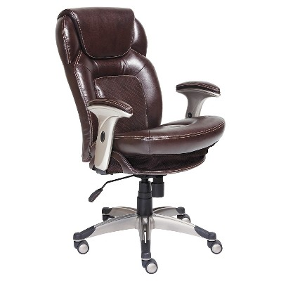 desk chair brown leather bernhardt pascal back n motion health wellness managers serta