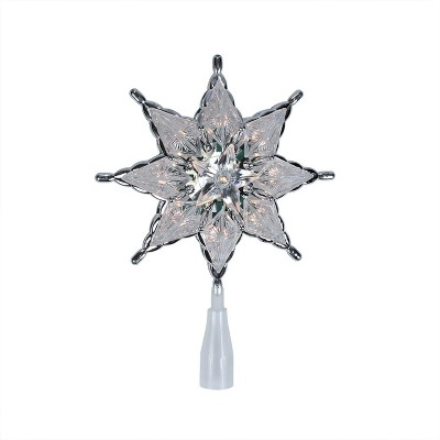 """Northlight 8"""" Clear 8-Point Star Christmas Tree Topper Decoration Lights"""
