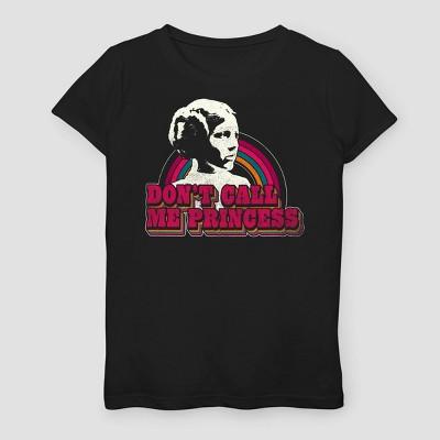 Girls' Star Wars Don't Call Me Princess Short Sleeve T-Shirt - Black