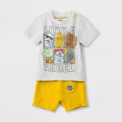 Baby Boys' 2pc Star Wars T-Shirt and Shorts Set - Gray/Yellow