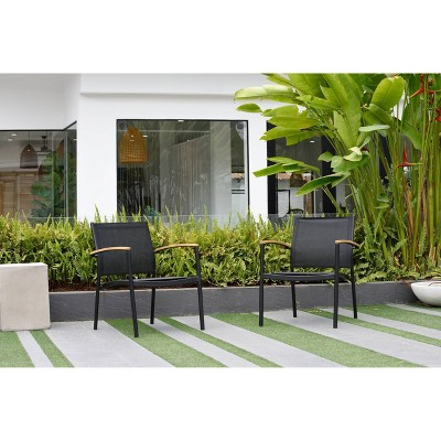 veronica 2pk deluxe patio stacking sofa sling chairs black amazonia