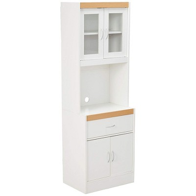 hodedah freestanding kitchen storage cabinet w open space for microwave white