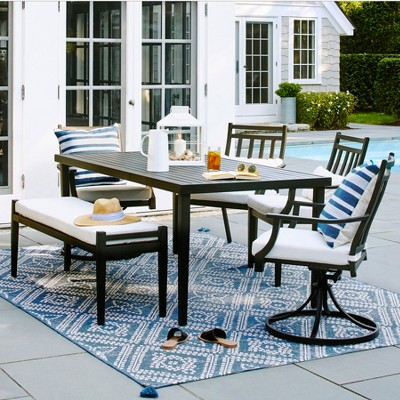 dining table with metal chairs garden chair covers fairmont steel patio black threshold target