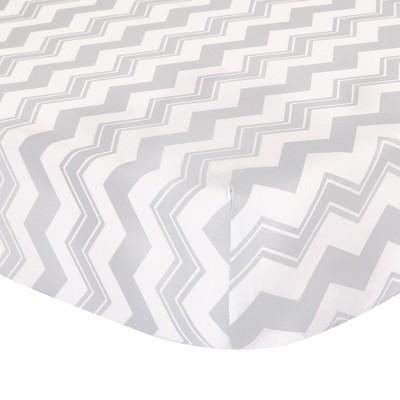 The Peanutshell Fitted Crib Sheet - Gray Chevron