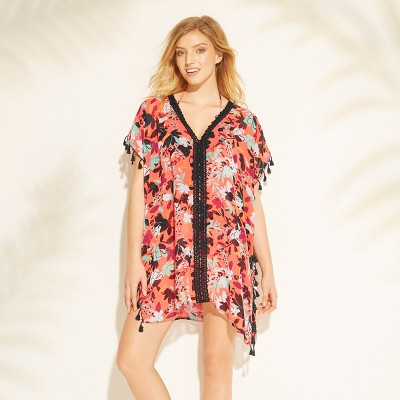 Women's Tassel Trim Cover Up - Sea Angel Coral Floral