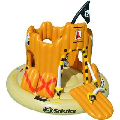 "Solstice 82"" Inflatable Giant Floating Pirate Castle Swimming Pool Adventure Play Set - Yellow"