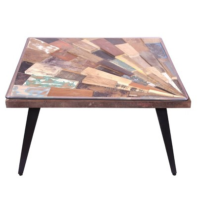square wooden coffee table with sunburst design glass inserted top the urban port