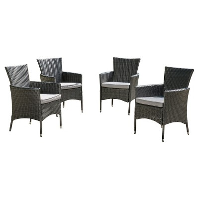 malta set of 4 wicker patio dining chair with cushions gray christopher knight home