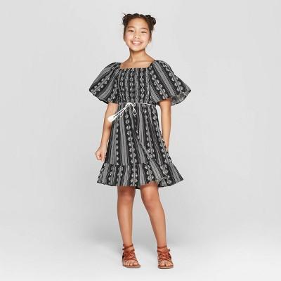 Girls' Short Sleeve Flutter Dress - art class™ Black