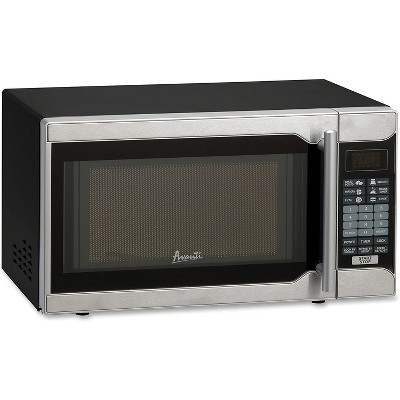 avanti mo7103sst 700 watt 0 7 cubic foot countertop kitchen microwave oven with glass tray turntable and preset cook programs black stainless steel