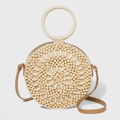 Beaded Circle Crossbody Bag - A New Day™ Natural