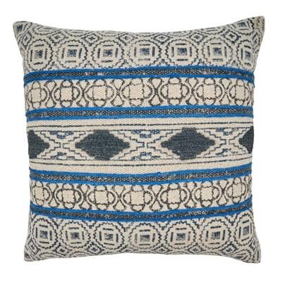 20 x20 boho rug design cotton throw pillow cover blue saro