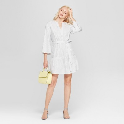 Women's Striped V-Neck Dress - A New Day™ White/Blue