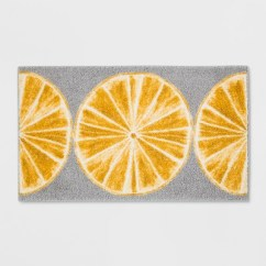 Gray Kitchen Rugs Wall Art 34 X20 Slices Rug Yellow Threshold Target