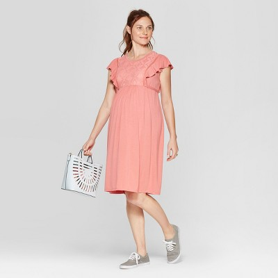 Maternity Lace Front Ruffle Sleeve Dress - Isabel Maternity by Ingrid & Isabel™