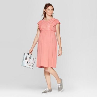 Maternity Lace Front Ruffle Sleeve Dress - Isabel Maternity by Ingrid & Isabel™